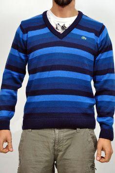 Maglia Lacoste a righe orizzontali in varie tonalità di blu