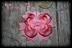 Pink Hair Bow  4 inch  Boutique Hair Bow  petite by tootoocute4you