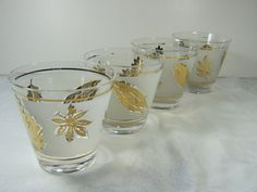 Vintage LEAF GLASSWARE Cocktail Glasses by G Reeves Set/4 by LavenderGardenCottag