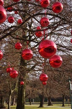 Giant Christmas Baubles on the grounds of Helbrunn Palace, Salzburg, Austria