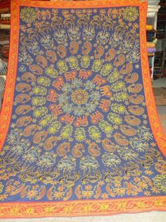 BRIGHT COLORS colorful aari ZARI work bed throw WITH ANIMAL AND FLOWER DESIGN