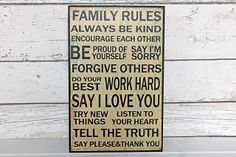Rustic family rules sign Gorgeous wooden sign with beautiful wording Perfect for any family home.