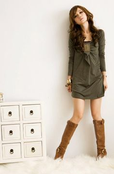 Party Clothing for Female Square Collar with Panel Pressing Decoration Long Sleeve Dress