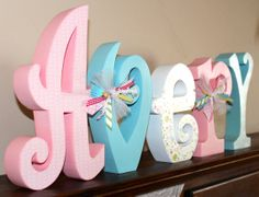 Nursery Decor Large Custom Wooden Letters by JulesWoodnCreations