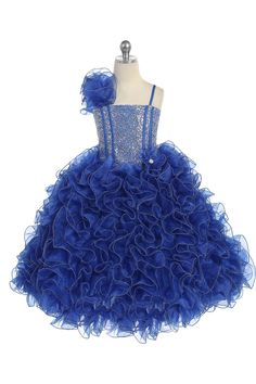 Royal Blue Single Shoulder Princess Pageant Girl Ball Gown