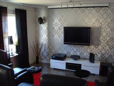 Decoration, White Silver Combine Motive Wall Tv Room Decorating Ideas With White Cabinet And Wall Mount Lcd Tv Dark Sofa Color On Grey Flooring Color Black Curtain In Glamorous Living Room And Lounge : Beautiful Interior Tv Room Decorating Ideas