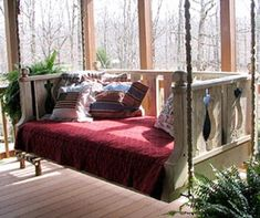 Outdoor bed swing! This would be awesome to have!
