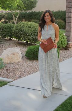 Heathered Grey Maxi Dress from Banana Republic paired with a cognac-colored clutch