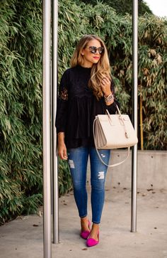black ruffled blouse, distressed skinny jeans, hot pink flats