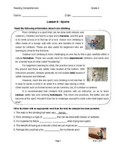 This lesson is adjusted for fourth grade reading comprehension. The theme is sports and the topic is rock climbing. Students are encouraged to read for meaning and expand vocabulary in this exercise.