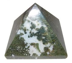 """Agate Pyramid Moss 07 Green White Crystal Natural Vegan Art Decoration Stone Gift 3.8"""""""