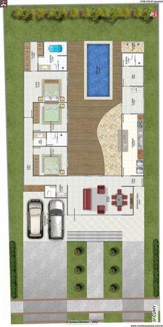 Planta de Casa - 3 Quartos - 165.97m² - Monte Sua Casa