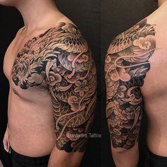 Dragon Tattoo. Japanese Sleeve. Black and Gray japanese tattoo