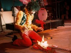 Jimi Hendrix sets his guitar on fire, Monterey Pop Festival, 1967