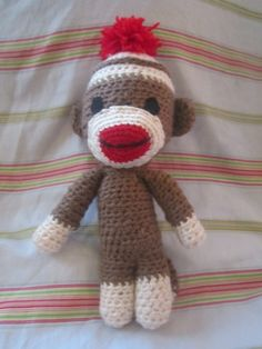 Crochet pattern inspired by vintage sock monkeys. Crochet Sock Monkeys, Crochet Monkey, Crochet Socks, Crochet Patterns Amigurumi, Love Crochet, Crochet Baby, Knitting Patterns, Crochet Animals, Baby Patterns