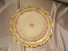 Items similar to Antique Limoges France LDBC, Flambeau Plate with magenta roses and raised metallic gold trims exclusive listing for Sandy on Etsy Antique China, Pie Dish, France, Plates, Dishes, Antiques, Tableware, Handmade Gifts, Etsy