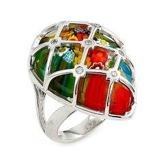 Millefiori Faceted Multi Color Pear Shape Cz Cage Ring Millefiori. $87.08