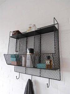 Bathroom Metal Wire Wall Rack Shelving Display Shelf Industrial Storage  Black | EBay