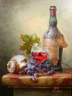 Artist: Toth Gabor ~ Still Life Oil Painting ~ Art Du Vin, Still Life Fruit, Fruit Painting, Wine Art, Painting Still Life, Still Life Photography, Art Plastique, Beautiful Paintings, Painting Inspiration