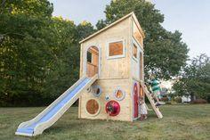 Spielhaus in fröhlichen Farben streichen - Lila, Rosa, Grün