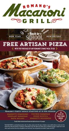 Macaroni Grill coupons & Macaroni Grill promo code inside The Coupons App. Free pizza with your takeout family meal at Macaroni Grill April Penne Rustica, Restaurant Marketing, Eggplant Parmesan, Spaghetti Bolognese, Family Meals, Macaroni, Coupons, Grilling, Coupon