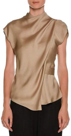 Shop High-Neck Cap-Sleeve Silk Charmeuse Blouse from Giorgio Armani at Neiman Marcus Last Call, where you'll save as much as on designer fashions. Party Wear Indian Dresses, Indian Dresses Online, Flapper Dresses, Bridal Dresses, Blouse Styles, Blouse Designs, Giorgio Armani, Emporio Armani, Long Skirt And Top