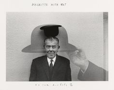 Magritte with hat (by Duane Michals, 1965)  He has inspired a few of my personal series  love his over exposure work