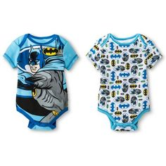 BATMAN Newborn Boys' 2 Pack Bodysuit Set - Blue