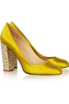 These but in fuschia J.Crew glittery satin pumps