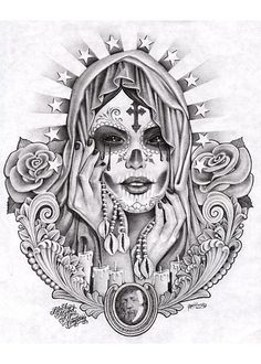 227e7d7e1 Santa Murte Art by Mouse Lopez. Tattoomaze · Drawing Girl And Mexican  Tattoos