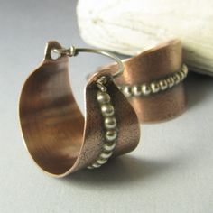 Contemporary Copper Earrings Copper And Sterling Silver
