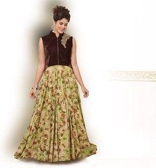 Brown & Pastel Green Color Half Velvet & Half Georgette Semi-stitched Designer Gown For Wedding : Rajkumari Collection YF-33387