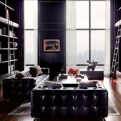 Dream library/office. Black matte with French casement windows
