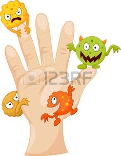 Dirty palm with cartoon germs Stock Vector