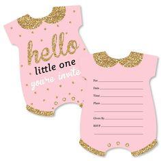 Baby Shower Invitation Cards, Invitation Card Design, Baby Shower Invites For Girl, Girl Shower, Baby Shower Invitations, Invitation Set, Birthday Invitations, Wedding Invitations, Pink And Gold Invitations