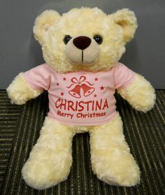 Christmas Gifts - Personalised Teddy Bear with Xmas Bell design (Merry Christmas) by ThatCornerShop. #personalisedgifts #birthdaygifts #giftsforhim #giftsforher #valentinesgifts #teddybear