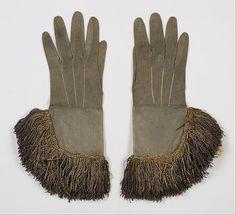 Gloves Date: 1680–1710 Culture: British Medium: Leather, silk, metallic