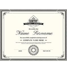 Retro frame certificate design template vector vintage template by kraphix on VectorStock®