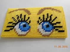 eyeglass case finished plastic canvas EYES by DebbyWebbysCreations