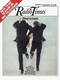 Morecambe and Wise on the 3-9 January issue of the London edition of the Radio Times, United Kingdom, 1976, published by BBC Magazines.