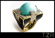 Love this color combo. Middle Eastern Aesthetic. David Webb Cocktail Ring.