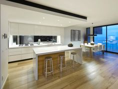 Smoked American Oak by Royal Oak Floors, seen here in a beach front property by Lowe Constructions - lowecon.com.au   royaloakfloors.com.au Stylish Kitchen, New Kitchen, Kitchen Dining, Kitchen Ideas, Royal Oak Floors, Timber Flooring, Reno, Beautiful Homes, Home Improvement