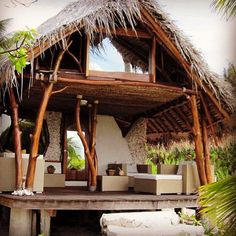 Ideas For House Beach Rustic Architecture Bamboo House Design, Tropical House Design, Tropical Beach Houses, Hut House, Jungle House, Bamboo Architecture, Beach Cottage Style, Beach Bungalows, Beach Shack