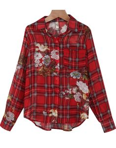Shop Red Lapel Long Sleeve Plaid Floral Blouse online. Sheinside offers Red Lapel Long Sleeve Plaid Floral Blouse & more to fit your fashionable needs. Free Shipping Worldwide!