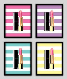 Wall Decor Prints, Modern Home Decor-Chanel Lipstick With Striped Background