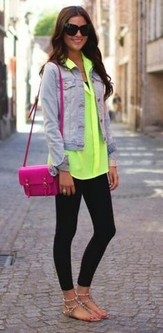 Neon Outfit, Accents - Grey, Hot Yellow, Hot Pink, Purse, Bag, Handbag, Fashion, Accessories