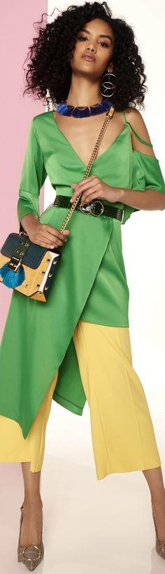 Analogous Color Block Fashion Scheme: Green, Yellow, Blue. See more at boomerinas.com