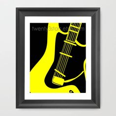 Electric Guitar Giclée Print of Pop Art Stratocaster, You Choose the Colors, Perfect Gift for any Music Lover. $15.00, via Etsy.