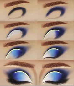 Dark Eye Makeup, Asian Eye Makeup, Dramatic Eye Makeup, Eye Makeup Art, Eyeshadow Makeup, Blue Eyeshadow, Creative Eye Makeup, Unique Makeup, Colorful Eye Makeup