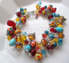 PARTY TIME Lampwork Bracelet, Artisan Turquoise, Red,Yellow Handmade Lampwork Beads,Crystal, Glass, Chunky, Beaded Charm Dangle Bracelet on Etsy, $88.00